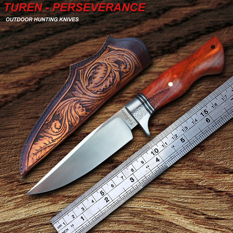 TUREN-Perseverance 59HRC Handmade outdoor hunting straight knife natural rosewood handle with vegetable tanned leather sheath