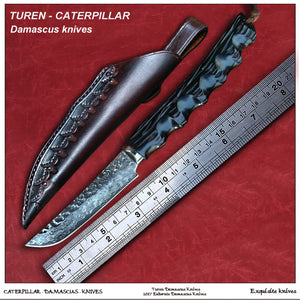 TUREN-Caterpillar 60 HRC Handmade Damascus hunting straight knife ebony handle with handmade cowhide leather sheath