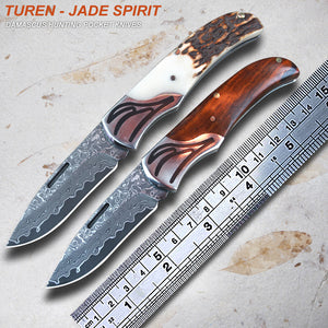 TUREN-Jade spirit 59HRC Handmade Damascus hunting pocket knife natural wild antler/particles rosewood handle