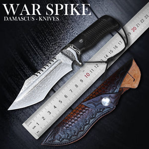 TUREN-Straight Handmade forged High hardness VG10 Damascus knife fixed knife hunting knife Outdoor knife Survival knife