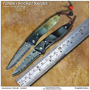 TUREN-Pocket knife 58HRC Handmade Damascus outdoor pocket knife wild cow's horn handle with vegetable tanned leather sheath
