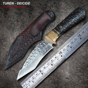 TUREN-Deicide 60 HRC Handmade Damascus hunting straight knife ebony handle with vegetable tanned leather sheath