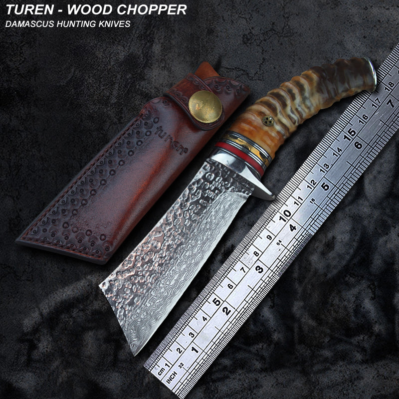TUREN-Wood Chopper 60 HRC Handmade Damascus hunting straight knife wild ram's horn handle with vegetable tanned leather sheath