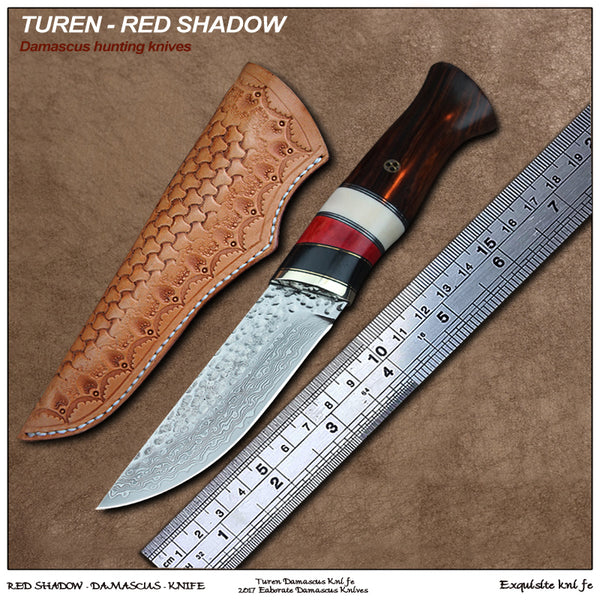 TUREN-Red Shadow 60 HRC Handmade Damascus hunting straight knife cow bone rosewood handle with vegetable tanned leather sheath
