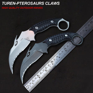 TUREN-Pterosaurs Claws 58HRC high quality outdoor claw knife black G10 handle with black scabbard