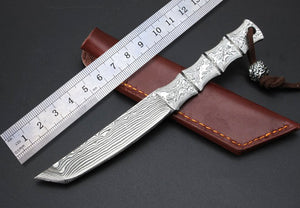 Custom High Quality Small Damascus Steel Blade Collection Outdoor Survival Camping Fixed Knives Leather Sheath Pocket Folder Too - VIKNIFE