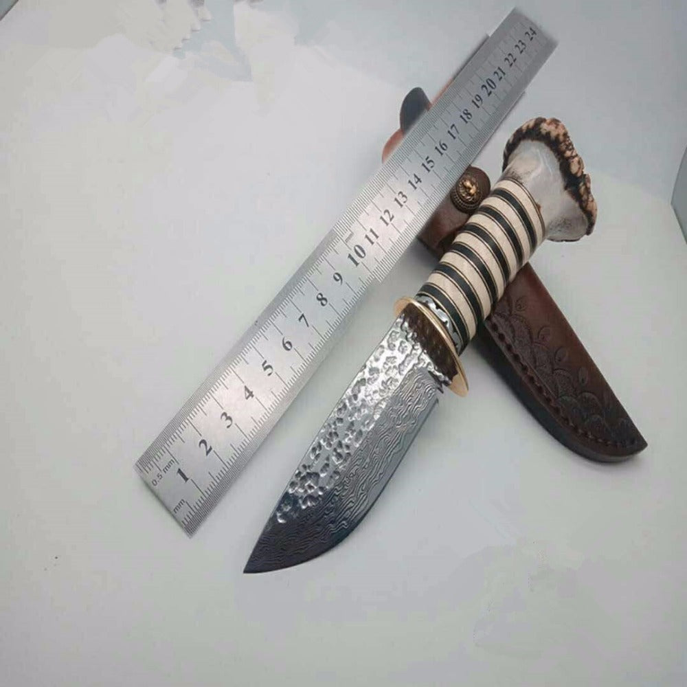 PSRK Hunting Damascus VG10 Steel Fixed Blade Knife Outdoor