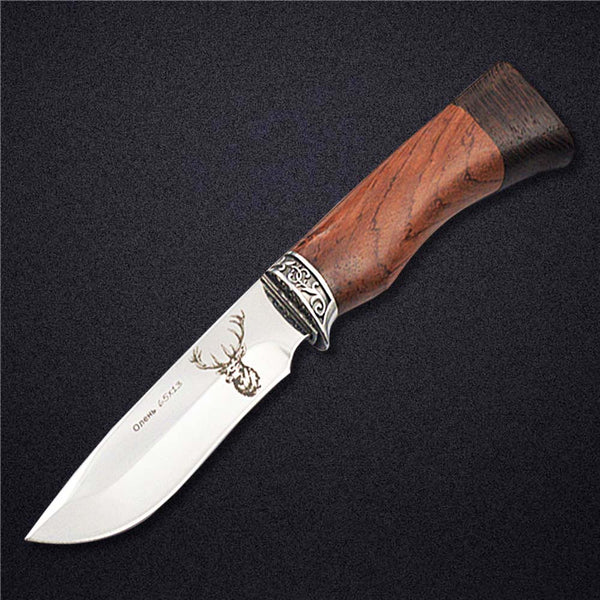 DOXA 440C Stainless Steel Fixed Blade Hunting Knives Wenge Wood Handle Outdoor Survival Utility Knife Wild Deer H