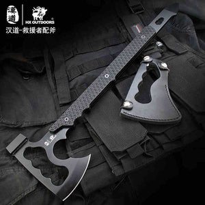 HX OUTDOORS Rescue Outdoor Multifunctional Axe Camping Hunting Artillery Fire Rescue Axe Hammer K10 Fibreboard Handle 440c Steel