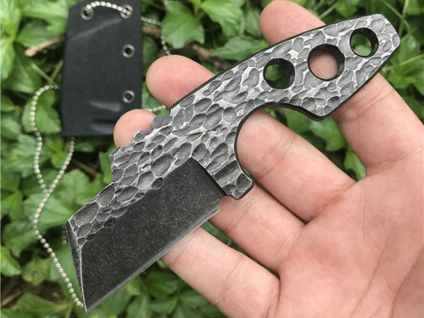 Trskt 440C Small Cleaver Pocket Neck Knife Tactical Survival Hunting Knives Outdoor Camping EDC Tool With K Sheath Dropshipping