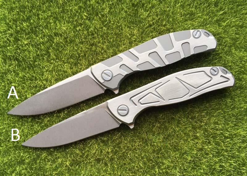 F95 Flipper folding knife D2 blade TC4Titanium - VIKNIFE