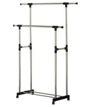 Stain Steel Double Pole Clothing Rail - Perfect Dealz