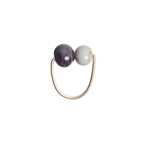 Double bubble ring in grey/aubergine