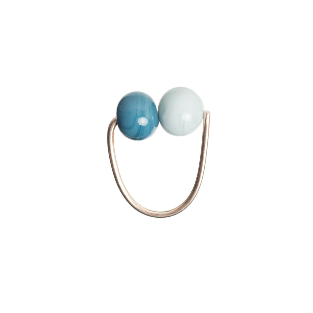 Double bubble ring in grey/dusty blue