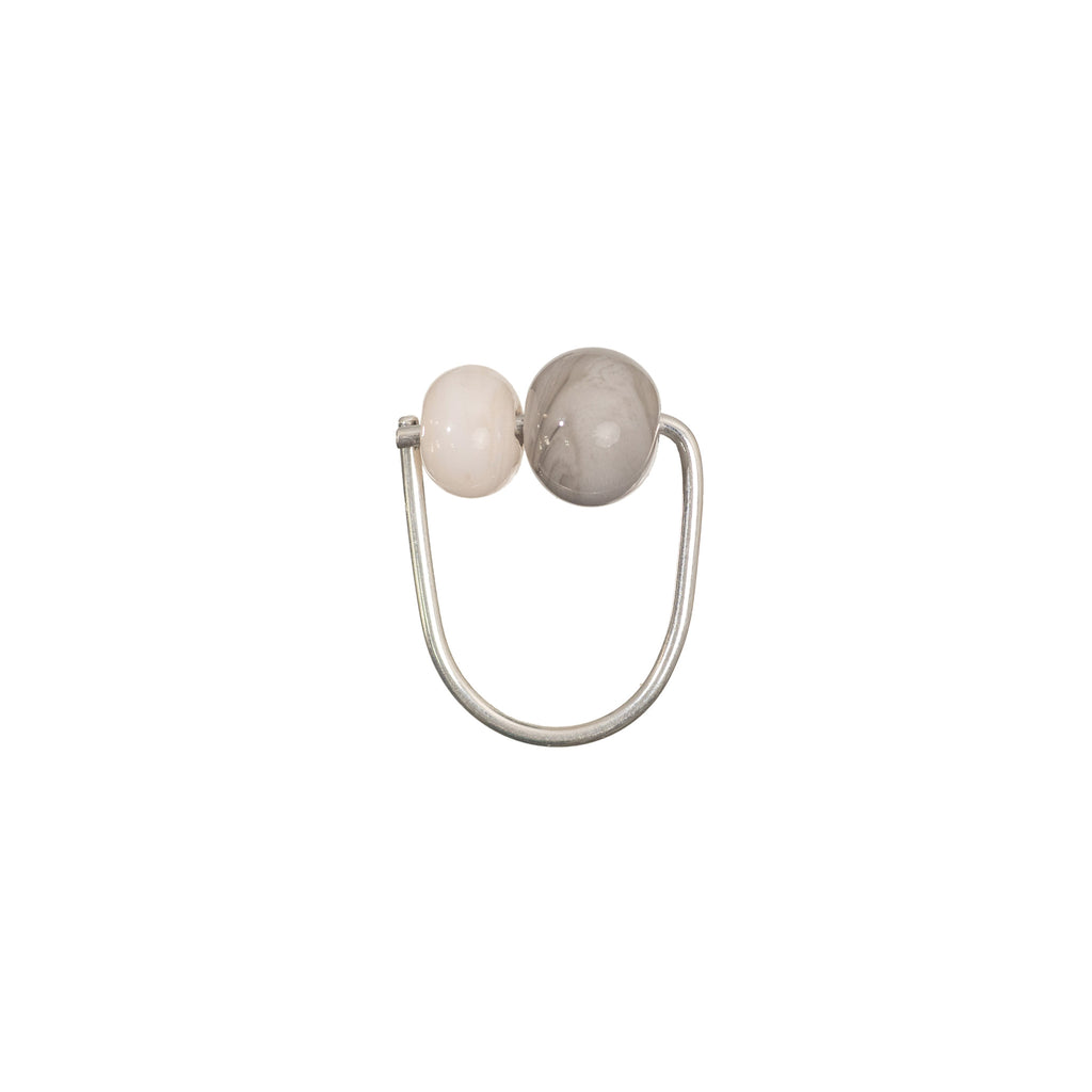 Double Bubble ring in grey/peach