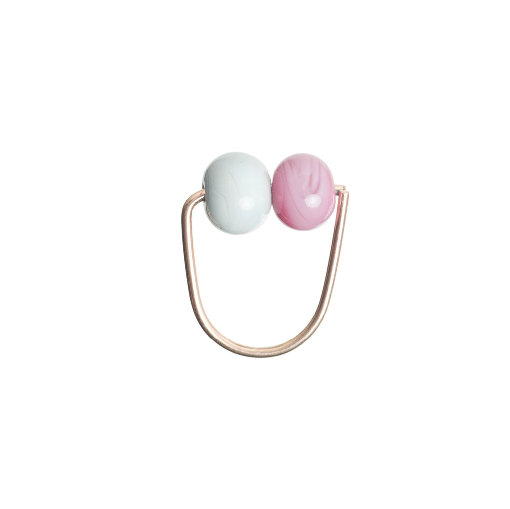 Double bubble ring in grey/pink