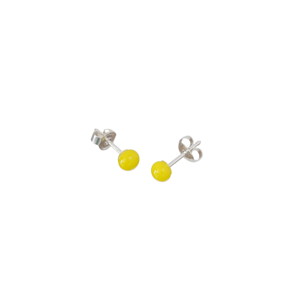 Pin earrings in lemon yellow