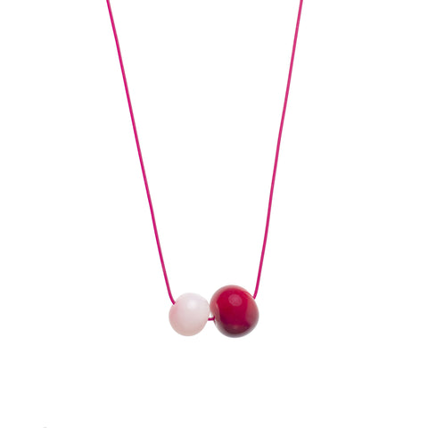 Double Bubble necklace in red/pink