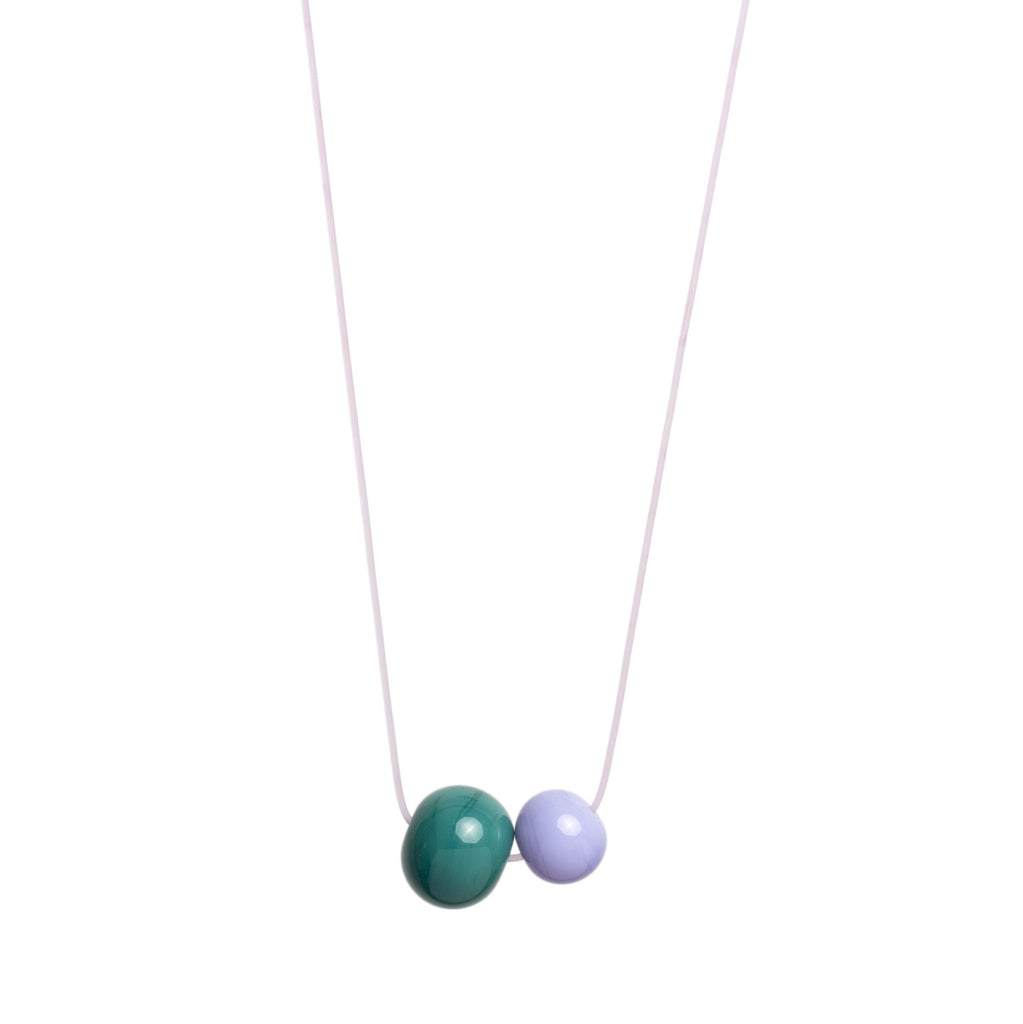 Double Bubble necklace in teal/lilac