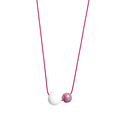 Double Bubble necklace in white/pink