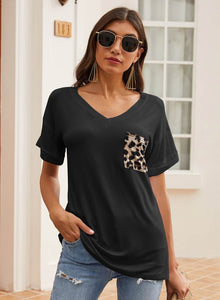 Soft Loose Fit Summer T-shirt with Leopard Pocket