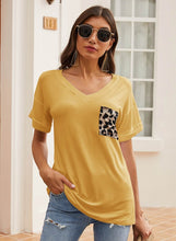 Load image into Gallery viewer, Soft Loose Fit Summer T-shirt with Leopard Pocket