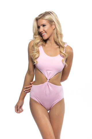 SOLID LIGTH PINK MONOKINI FRONT KNOTTED DETAIL