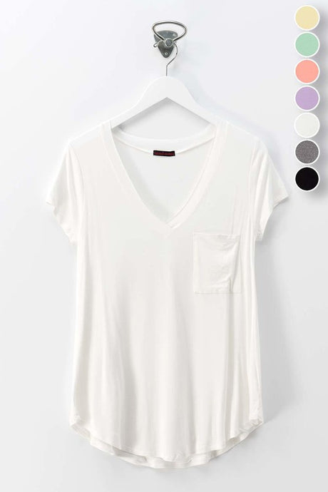 V-Neck Tee with One Pocket