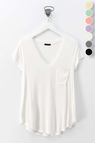 V-NECK TSHIRT WITH ONE POCKET