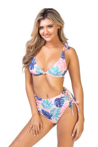 Pink Tropical Printed Bikini