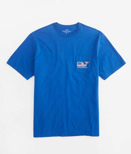 Graphic Pocket Tee w/ Flag Whale