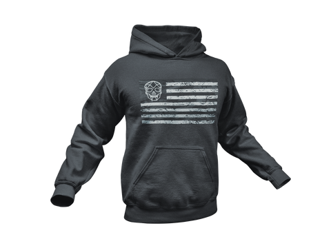 Thirteen's Skull Shop American Flag Punisher Skull Military Hardcore Hooded Sweatshirt Hoodie