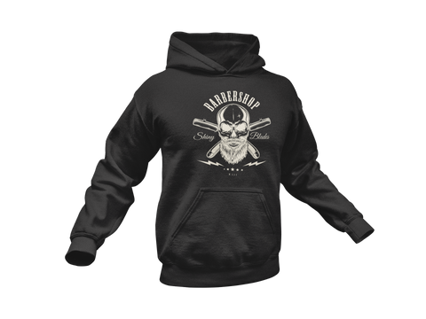 Thirteen's Skull Shop Barbershop Beard Skull n Blades Hooded Sweatshirt Hoodie