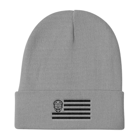 Thirteen's Skull Shop Default Title Grey Black Military Skull Flag Knit Beanie