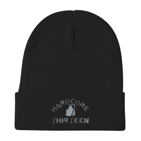Thirteen's Skull Shop Default Title Thirteen Reaper Hardcore Black & Grey Embroider Knit Beanie