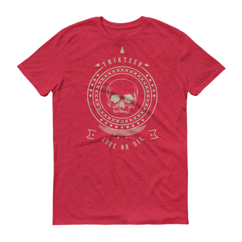 Thirteen's Skull Shop Heather Red / S Mens Thirteen Skull Gothic Lucky Medallion Live or Die 13 Short sleeve t-shirt
