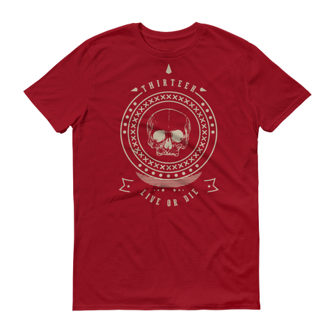 Thirteen's Skull Shop Independence Red / S Mens Thirteen Skull Gothic Lucky Medallion Live or Die 13 Short sleeve t-shirt