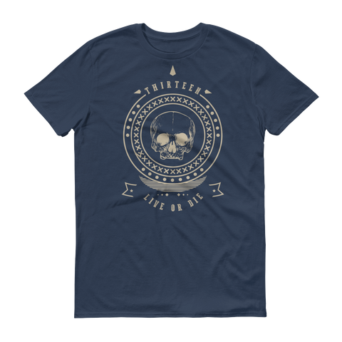 Thirteen's Skull Shop Lake / S Mens Thirteen Skull Gothic Lucky Medallion Live or Die 13 Short sleeve t-shirt