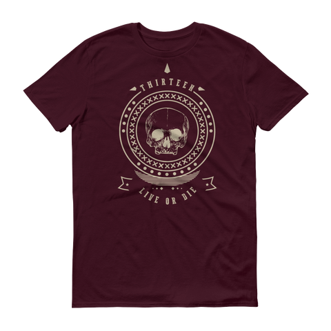 Thirteen's Skull Shop Maroon / S Mens Thirteen Skull Gothic Lucky Medallion Live or Die 13 Short sleeve t-shirt
