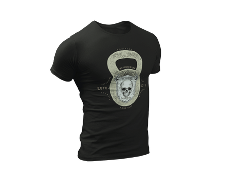 Mens Skull Kettlebell Addicted Lucky Heavy Metal 13 Short sleeve t-shirt