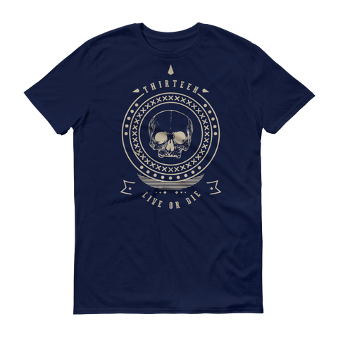Thirteen's Skull Shop Navy / S Mens Thirteen Skull Gothic Lucky Medallion Live or Die 13 Short sleeve t-shirt