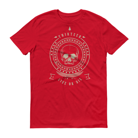 Thirteen's Skull Shop Red / S Mens Thirteen Skull Gothic Lucky Medallion Live or Die 13 Short sleeve t-shirt