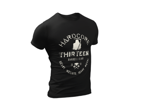 Thirteen's Skull Shop S Mens Skull Hardcore Barbell Club Reaper Weight Lifting Heavy Metal Band Tee
