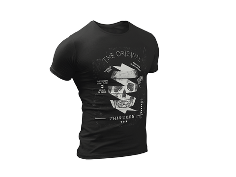 Mens The Original Thirteen Skull Modern Vintage Rock n' Roll T-Shirt