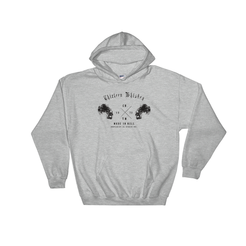 Thirteen's Skull Shop Sport Grey / S Thirteen Skull Whiskey Hooded Sweatshirt Hoodie