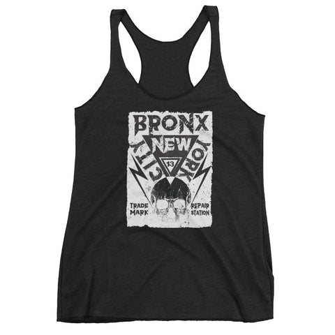Thirteen's Skull Shop Vintage Black / XS Womens Skull Clothing Bronx New York City 13 Racerback tank top