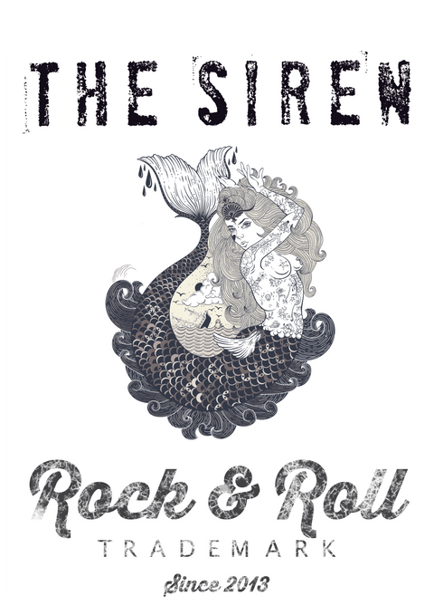 Thirteen's Skull Shop Womens Skull 13 Rock n' Roll Modern Vintage Siren Mermaid Racerback Tank Tee