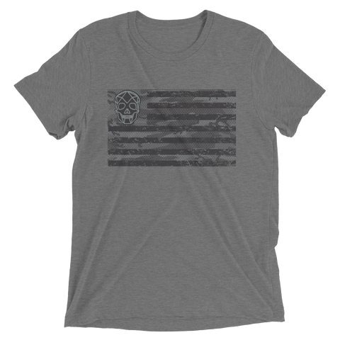 Thirteen's Skull Shop XS Mens Hardcore Camo Skull American Flag Short Sleeve T-Shirt (The ULTIMATE Bad Ass Gym/Military T-Shirt)