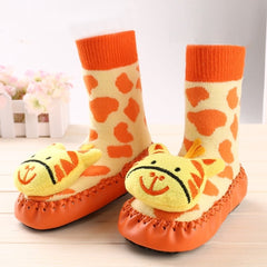 Animal Face Baby Fuzzy Sock With Leather Soles The Baby And Mommy