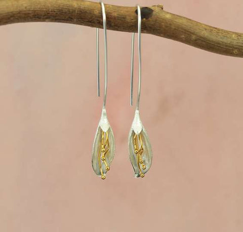 Long calla lily earrings silver with gold